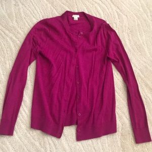 The caryn cardigan j crew Xs raspberry button down